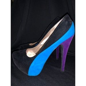 Qupid Black, Blue, and Purple Suede Shoe, Size 7.5